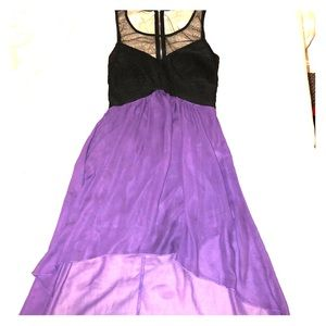 Purple High-low Sheer Dress